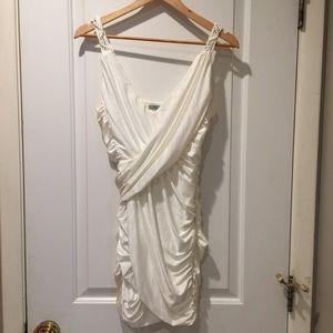 White Drape Ruched Short Dress Medium